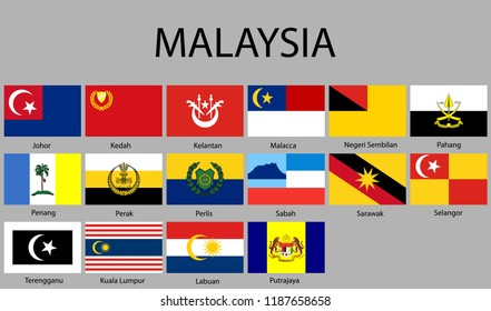 all Flags of regions of Malaysia. Vector illustraion
