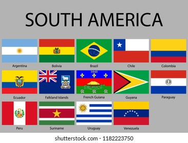 All flags of South America. Vector Illustration