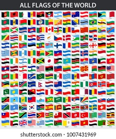 All flags of the world in alphabetical order. Waving style