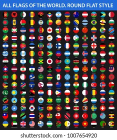 All flags of the world in alphabetical order. Round, circle flat style