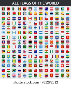 All flags of the world in alphabetical order. Square glossy style