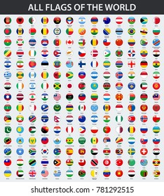 All flags of the world in alphabetical order. Round, circle glossy style