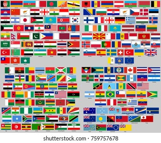 all flags of the world. Correct size, proportion, colors. Sort by continents