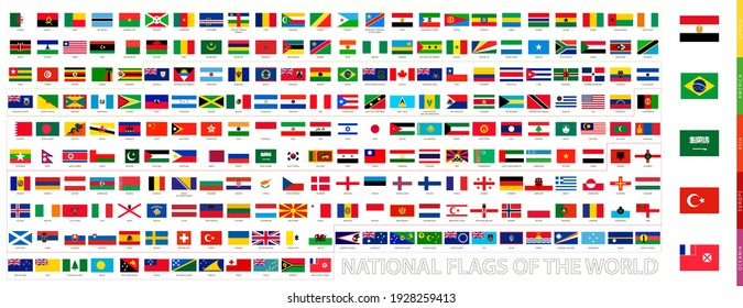 All flags of the world in official proportions. Flags collection.