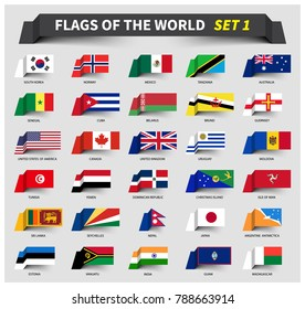 All flags of the world set 1 . Waving ribbon style .