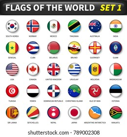 All flags of the world set 1 . Circle and convex design .
