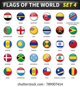 All flags of the world set 4 . Circle and convex design .