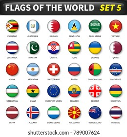 All flags of the world set 5 . Circle and convex design .