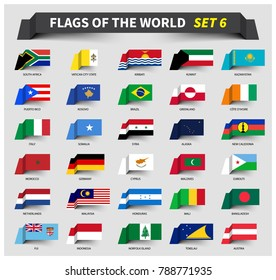 All flags of the world set 6 . Waving ribbon style .