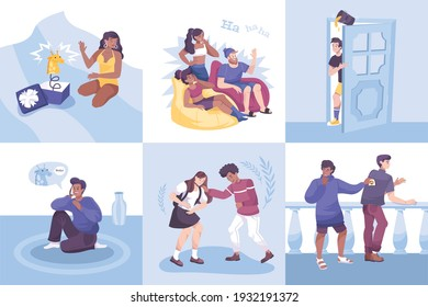 All fools set of flat compositions with doodle characters of people making pranks of each other vector illustration