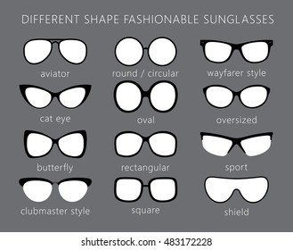 All forms / types of fashionable sunglasses. Aviator, cat eye, butterfly, clubmaster, wayfarer, sport, round, shield, oval, square. Types sunglasses. Vector.