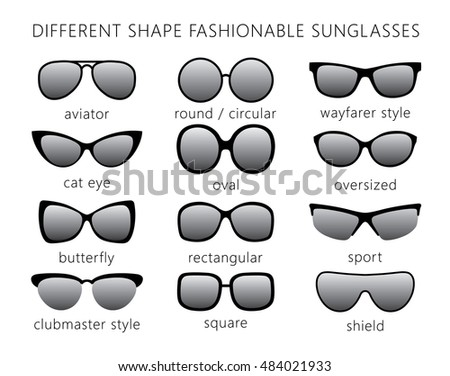 86bf9b79a84ab All Forms Types Fashionable Sunglasses Aviator Stock Vector (Royalty ...