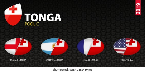 All games of Tonga rugby team in pool C stylized as icons. Tonga versus: France, Argentina, USA, England.