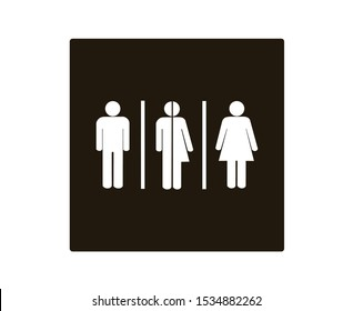 All gender symbols. Male, female transgender, restroom or toilet sign, Vector illustration