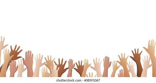 Hands Up In The Air Images, Stock Photos & Vectors