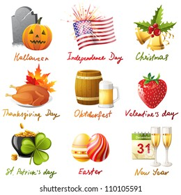 Halloween Thanksgiving Christmas Clipart.Halloween Thanksgiving Christmas Images Stock Photos
