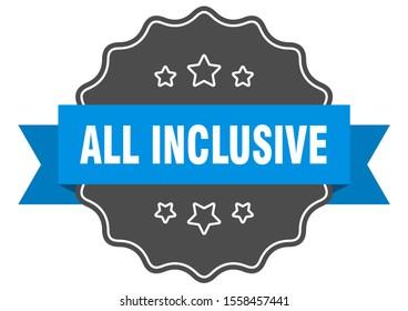all inclusive blue label. all inclusive isolated seal. all inclusive sticker