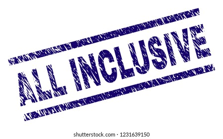 ALL INCLUSIVE seal watermark with grunge style. Blue vector rubber print of ALL INCLUSIVE text with grunge texture. Text label is placed between parallel lines.