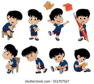 All of kids different pose about learning.back to school.Vector and illustrator