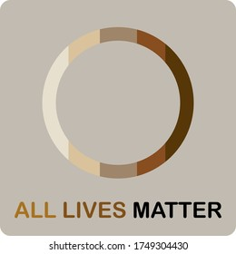 ALL LIVES MATTER in vector letters text and mixed race color heart, social activists quote for human right protest , equality concept