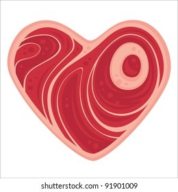 For all of the meat lovers out there. Vector cartoon illustration of a heart-shaped chop of meat.