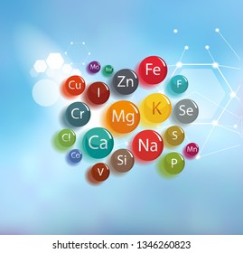 All minerals for human health. Abstract scheme.