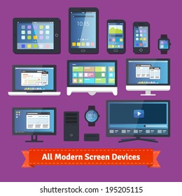 All modern screen devices. Desktop, mobile, wearable and tv. EPS 10 vector.
