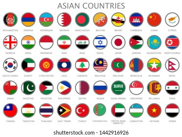 All national flags of the Asian countries in alphabetical order. Official colors flags and round design. Vector illustration