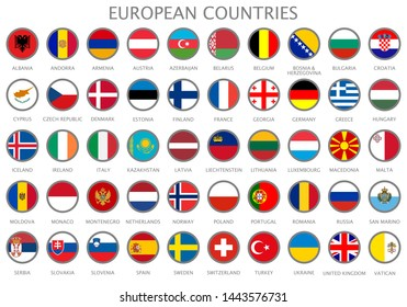 All national flags of the European countries in alphabetical order. Official colors flags and round design. Vector illustration