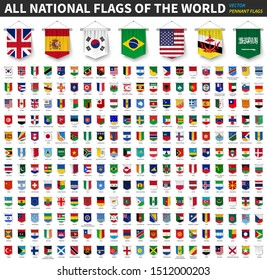All national flags of the world . 3D realistic pennant hanging design . White isolated background . Vector .