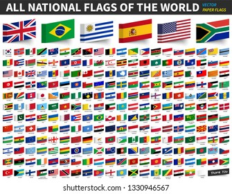 All national flags of the world . Adhesive paper flag design . Vector .