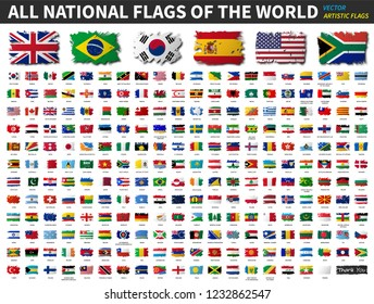 All national flags of the world . Artistic watercolor painting flat design . Vector .