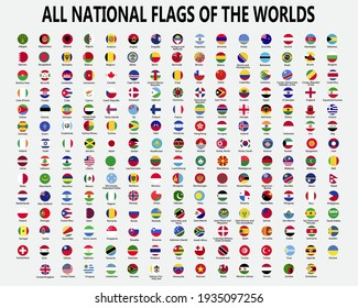 All national flags of the world . Circle concave button design . Elements vector .