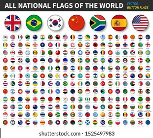 All national flags of the world . Convex button flag design . White isolated background . Element vector .