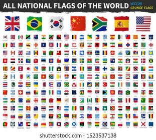 Alle nationalen Flaggen der Welt . Grunge quadratische Form Aquarell Farbe Flagge Design . Weißer isolierter Hintergrund. Elementvektor.