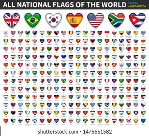 All national flags of the world . Heart button design . Vector .