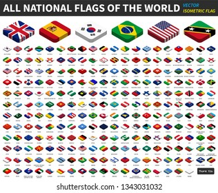 All national flags of the world . isometric top design . Vector