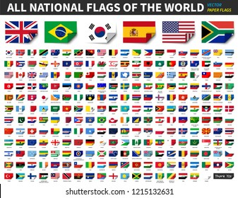 All national flags of the world . Paper design with bend at corner . Elements Vector .
