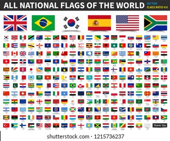 All national flags of the world . Ratio 4 : 6 design with float sticky note paper style . Elements vector .