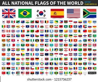 Alle nationalen Flaggen der Welt . Verhältnis 4: 6 Design mit flatterndem Notenpapier Stil . Elementvektor .