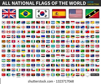 All national flags of the world . Shiny convex button design and ratio 4 : 6 . Elements vector