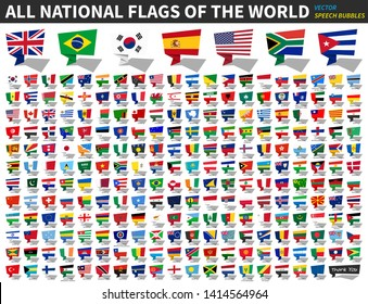 All national flags of the world . Speech bubbles design . Vector .