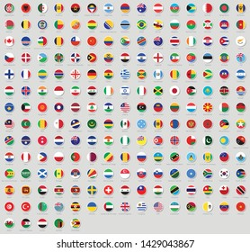 All national flags of the world stickers with names. Rounded flags, circular design, stickers. High quality vector flag isolated on gray background