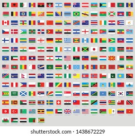 All national flags of the world stickers with names. Stickers flags. High quality vector flag isolated on gray background