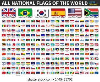All national flags of the world . Torn paper design . Vector .