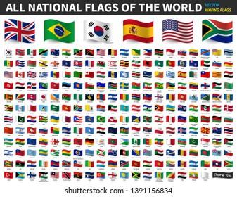 Alle nationalen Flaggen der Welt . Wave Flag Design . Vektorgrafik.