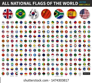 All national flags of the world . Waving circle flag design . Vector .