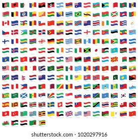 All national waving flags from all over the world with names - high quality vector flag isolated on white background