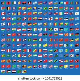 All national waving flags from all over the world with names - high quality vector flag isolated on blue background