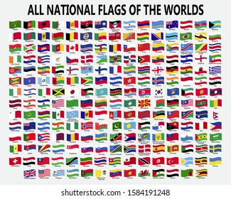All national waving flags of the worlds.